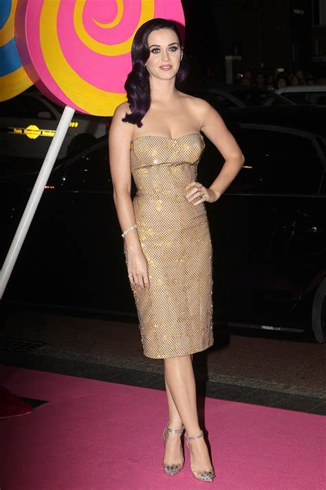 Katy Perry goes for a sequinned Versace dress at the